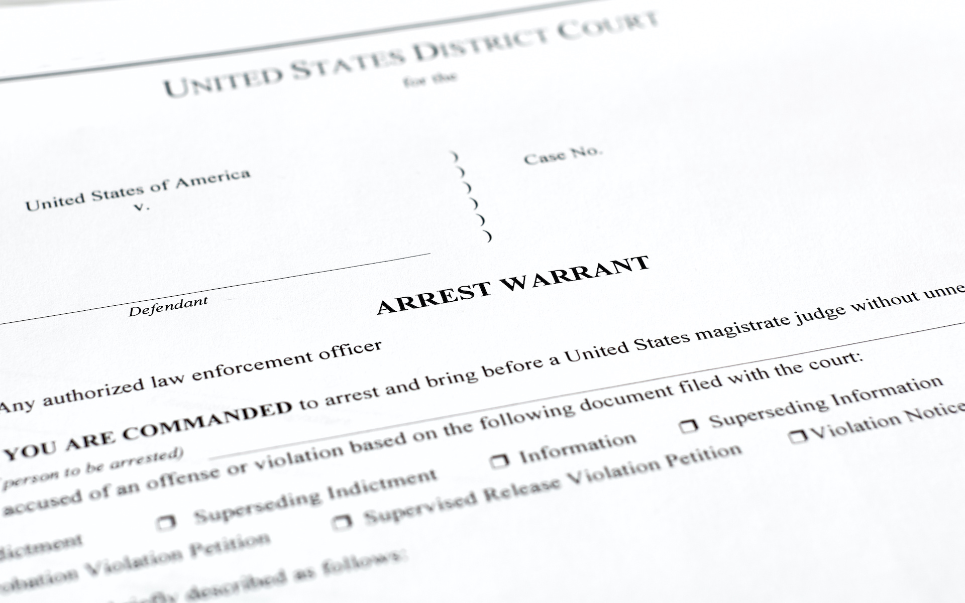 photo of an arrest warrant