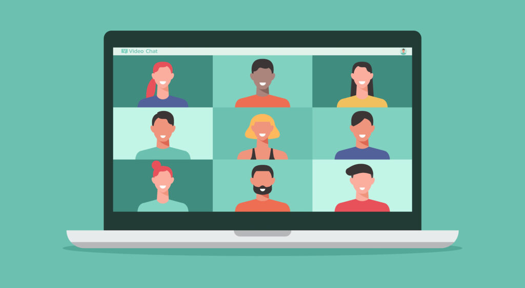 Illustration of people on computer laptop screen taking together or chatting with friends